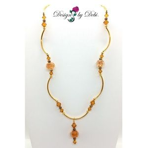 Caramel Swirled Glass& Topaz Crystal Gold Necklace
